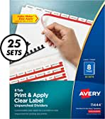 Avery Index Maker Unpunched Clear Label Dividers for Bound Documents, 8-Tab, White, 25 Sets (11444)