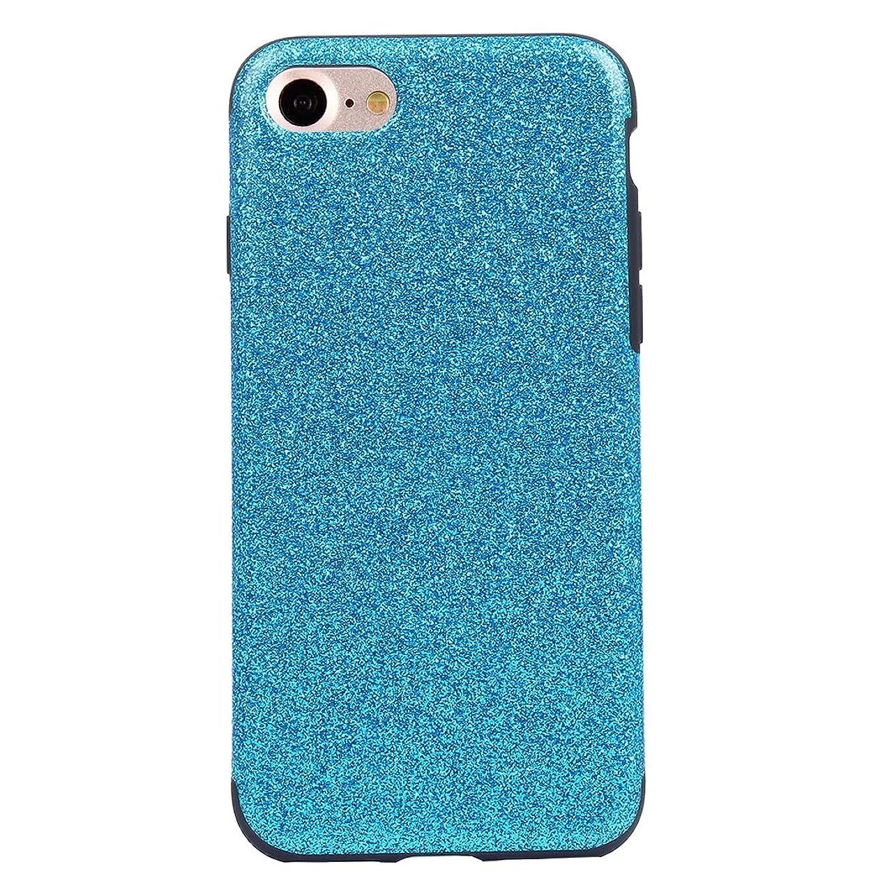 凍った確立します一族IPhone 8および7に最適グリッターパウダーPUペーストスキンソフトTPU保護ケース(ブラック) Yikaja (色 : Blue)