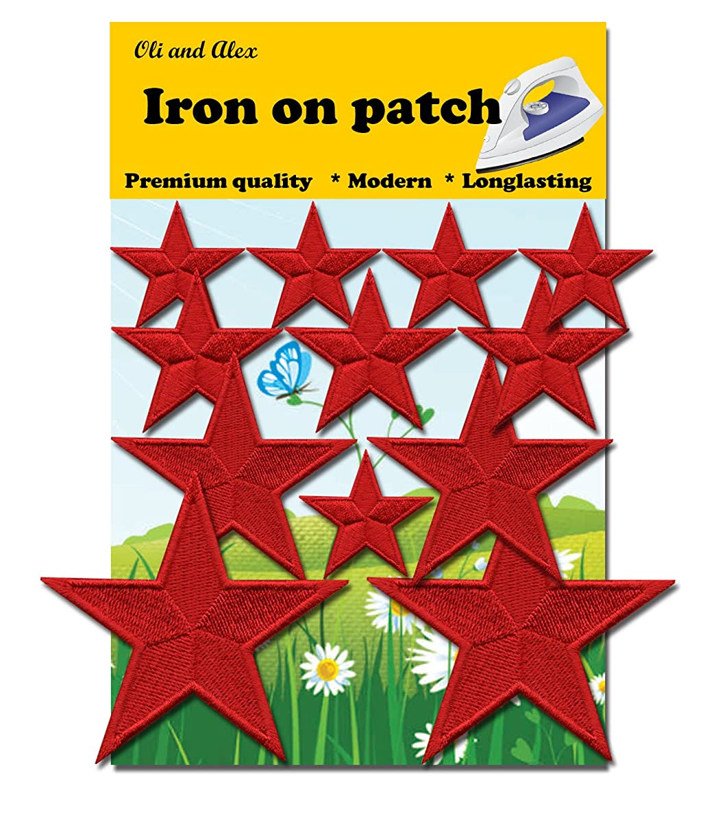 Iron On Patches - Red Star Patch 12 pcs Iron On Patch Embroidered Applique A-149