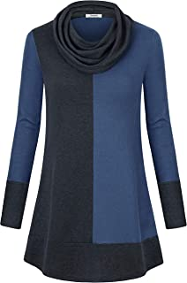 Women's Hoodie Sweatshirt Long Sleeve Cowl Neck Pullover Color Block Thin Tunic Top