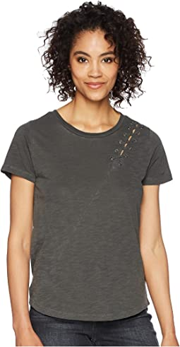 Lucky Brand - Lace-Up Shoulder Tee