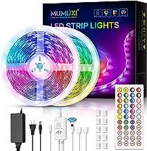 MUMUXI LED Strip Lights, 32.8ft Color Changing Led Light Strip 5050 RGB 300 LEDs Flexible LED Tape Light Kit with 44 Keys ...