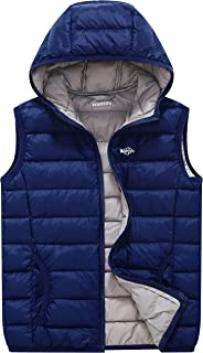Wantdo Boy's and Girl's Hooded Packable Puffer Down Vest Sleeveless Jacket