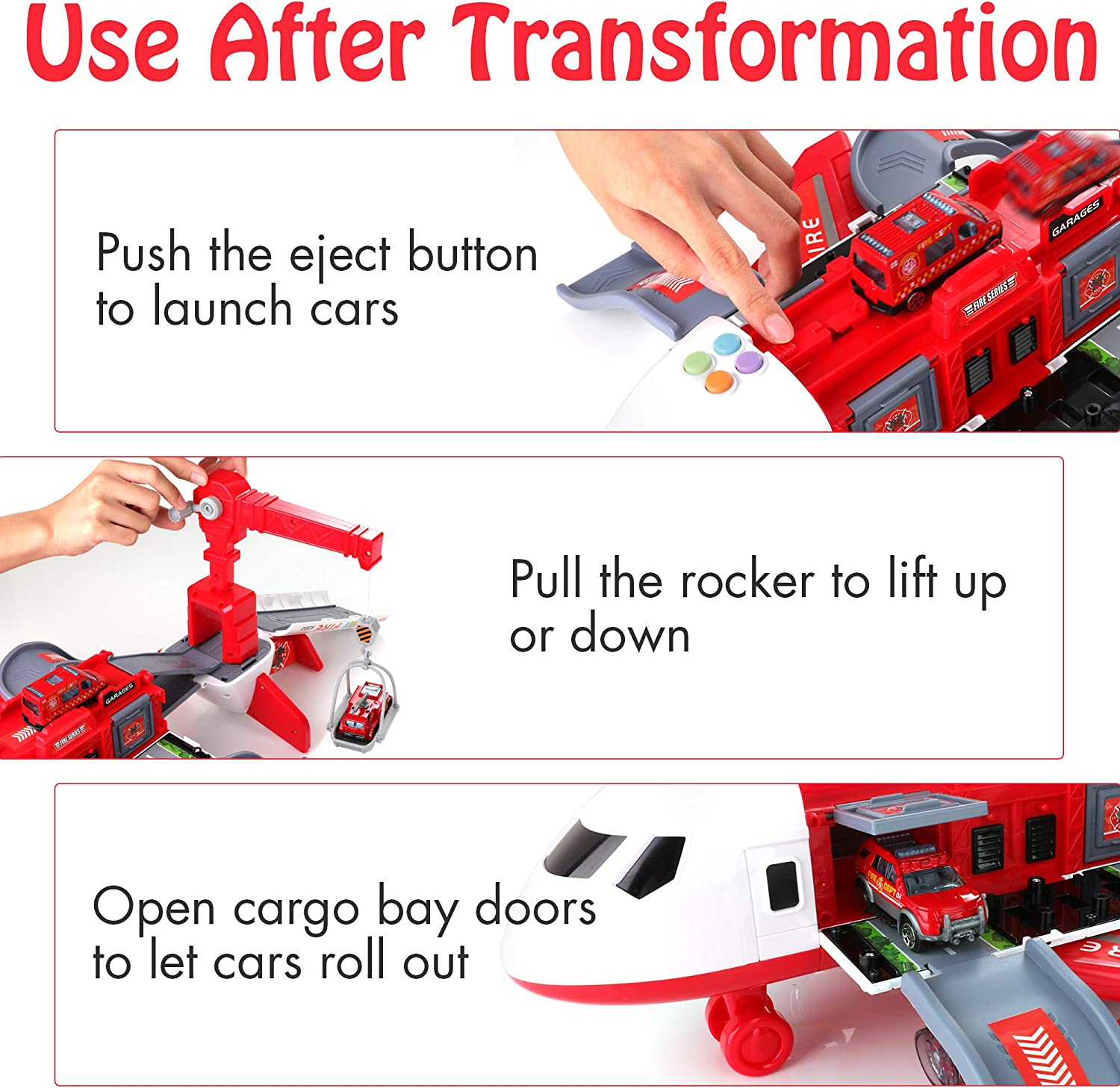 4 Fire Fighting Vehicles Large Theme Airplane Educational Toy Vehicle Play Set Girls for Toddler Boys Girls Age 3+ 11 Road Signs KIDWILL Car Toys Set with Transport Cargo Airplane