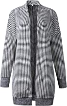 Arctic Cubic Long Sleeve Longline Plaid Tartan Gingham Check Checkered Cardigan Sweater Duster Coat Jacket Top Black White