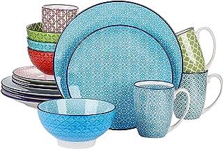 Dinnerware Sets أجهزة المائدة الخزفية 16 قطع مجموعة أدوات المائدة مع 4 لوحة عشاء، لوحة الحلوى، وعاء، خدمة مجموعة القدح لمد...