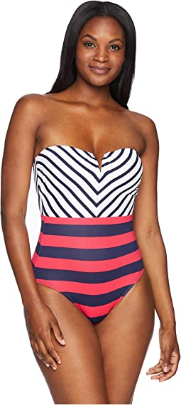 Tommy Bahama Channel Surf Mitered Bandeau One-Piece