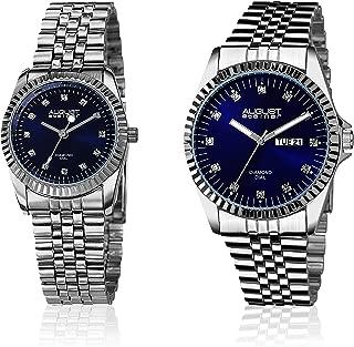August Steiner AS8201 - Juego de reloj de pulsera de acero inoxidable para hombre y mujer (esfera azul y pulsera plateada)