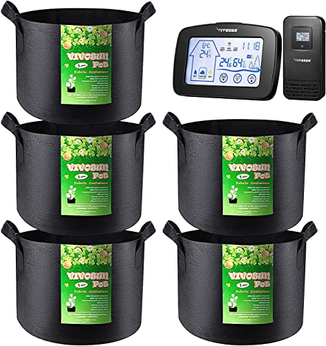 new arrival VIVOSUN 5 online Pack 5 Gallon Grow Bags and Indoor outlet sale Outdoor Thermometer Hygrometer online sale