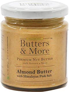 Butters & More Vegan Almond Butter with Pink Salt (200G). Low Sodium, Keto & Diabetic Friendly.