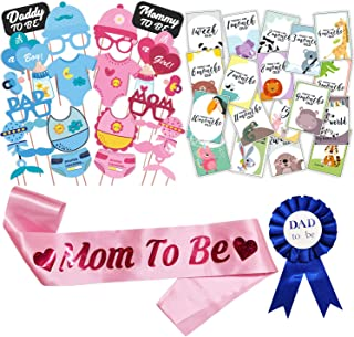 WOBBOX Baby Shower Combo of Photo Booth Party Props, Sash and Milestone Cards - Combo RU