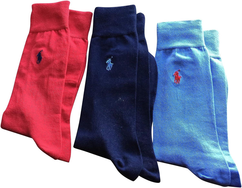 Polo Ralph Lauren Men's Dress Socks 3 Pack Navy Sky Blue Red