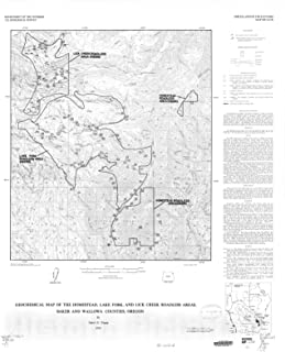 Historic Pictoric Map : Geochemical map of The Homestead, Lake Fork, and Lick Creek Roadless Areas, Baker and Wallowa Counties, Oregon, 1986 Cartography Wall Art : 20in x 24in