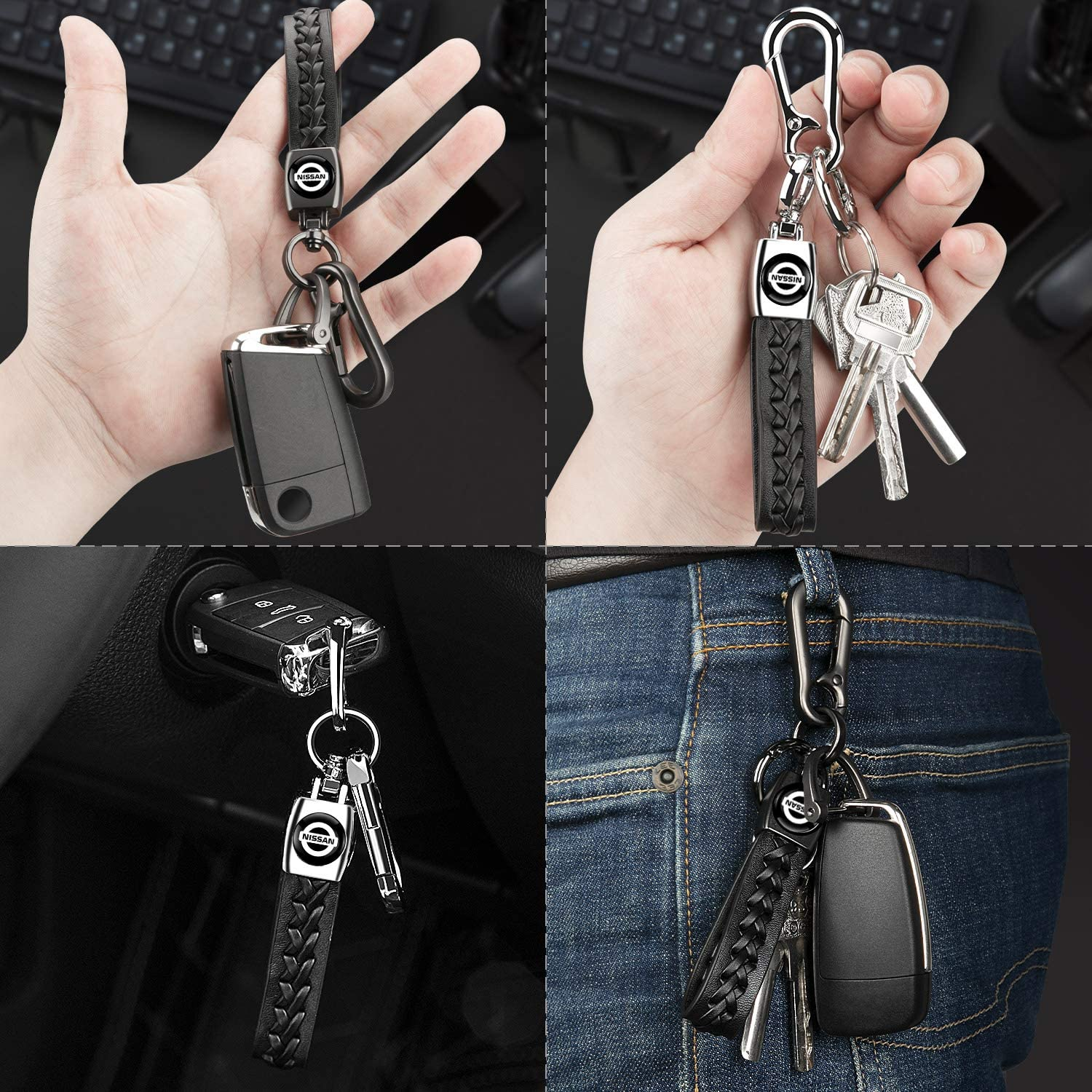 YimSting Genuine Leather Keychain for GMC Valet Car Key Chain Detachable Keyring Car Logo Accessories for Man Woman 2Pack