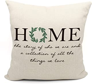 Mancheng-zi Home Throw Pillow Case, Housewarming Gifts Family Room Decor, 18 x 18 Inch Decorative Cotton Linen Cushion Cover for Sofa Couch Bed