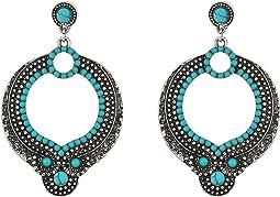 Steve Madden - Round Blue/White Bead Dangling Post Earrings