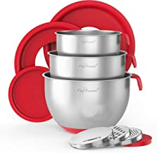 9 Pc Stainless Steel Mixing Bowls Set With Pour Spout, Best Christmas Gift, Non-Slip Silicon Handles & Non-Skid Bottom, Me...