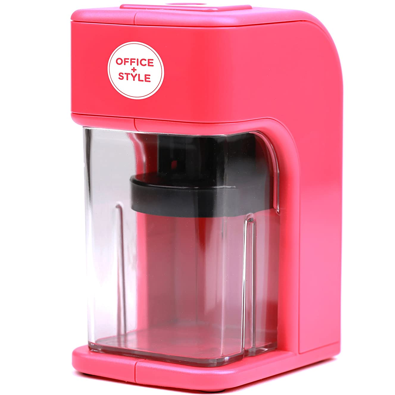 Electronic Pencil Sharpener With Auto Stop Safety Feature & Large Pencil Holder For Home, Office or Classroom - Pink - By Office + Style
