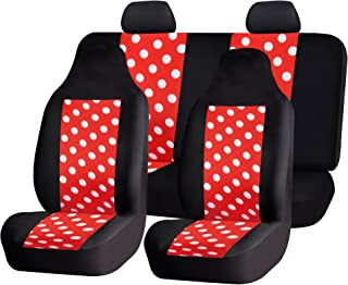 FH Group FH-FB115114 Full Set Fun Polka Dots Car Seat Covers, Red Color- Fit Most Car, Truck, SUV, or Van