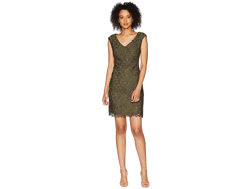 LAUREN Ralph Lauren Montie Cap Sleeve Day Dress (Admiral Green) Women