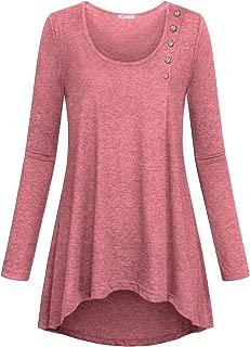 Women's Casual Basic Kint Shirts Loose Fit Long Sleeve High Low Hem Tunic Tops(FBA)