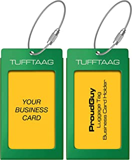 Luggage Tags Business Card Holder TUFFTAAG PAIR Travel ID Bag Tag - Emerald