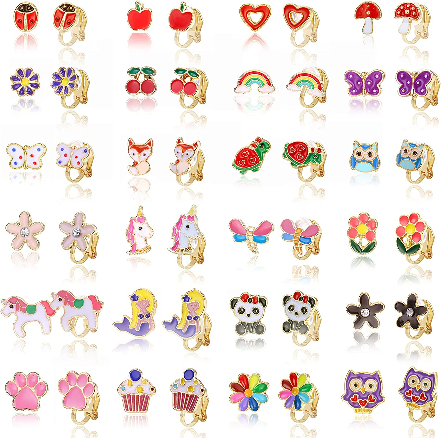 Subiceto 24 Pairs Clip on Earrings for Non Pierced Ears Cute Assorted Animal Unicorn Flower Earrings Set for Women Mixed Color Painless Non-Piercing Earrings Pack