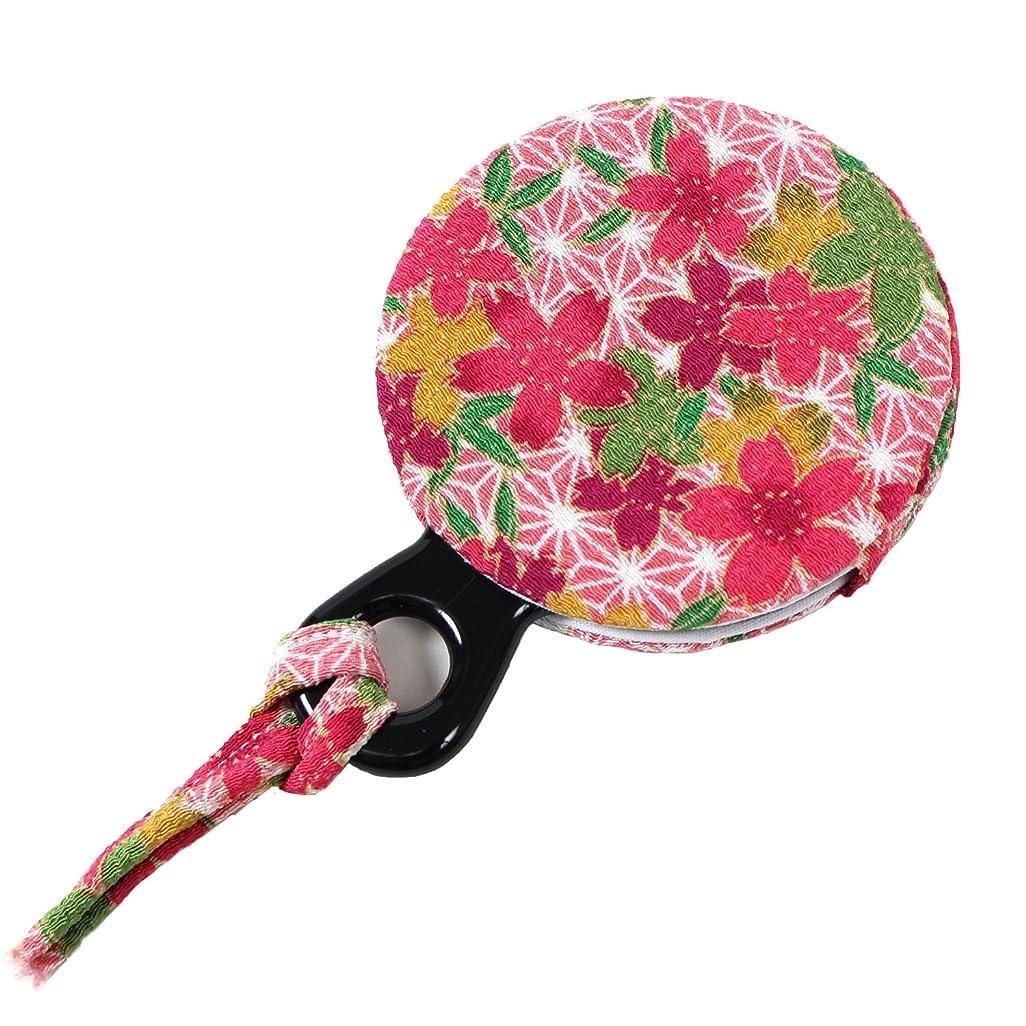 引用分配しますいつも小紋工房 手鏡 賑い麻の葉桜(ピンク) 二越ちりめん 京都 和KOMONO 江戸小紋 1304