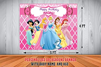 WoW Party Studio Personalized Disney Princess Theme Birthday Background Banner with Birthday Boy/Girl Name (4 Height x 5 ft Width)