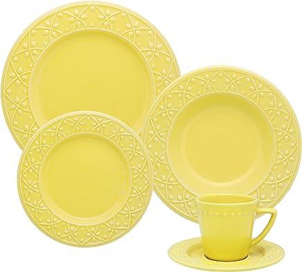 1 Aparelho de Jantar e Chá 30 Peças Oxford Daily Mendi Sicilia Amarelo
