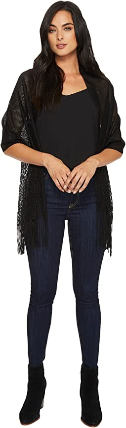 Betsey Johnson - Metallic Crochet Wrap w/ Fringe