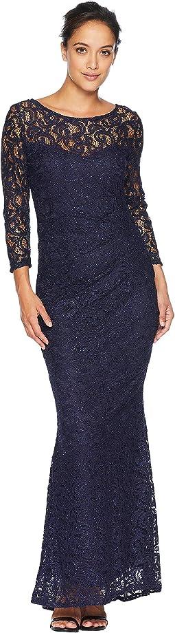Foil Lace Side Drape Gown