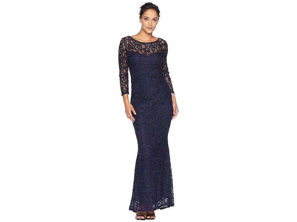MARINA Foil Lace Side Drape Gown (Navy) Women