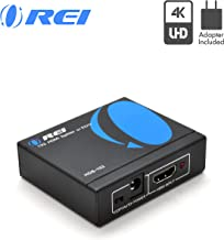4K HDMI Splitter 1 in 2 Out by OREI - Ultra HD @ 30 Hz 1x2 Ver. 1.4 HDCP, Power HDMI Supports 3D Full HD 1080P for Xbox, PS4 PS3 Fire Stick Blu Ray Apple TV HDTV - Adapter Included