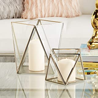 """CosmoLiving by Cosmopolitan 57380 Large Modern Metallic Silver Metal & Glass Candle Holders with Geometric Silhouettes