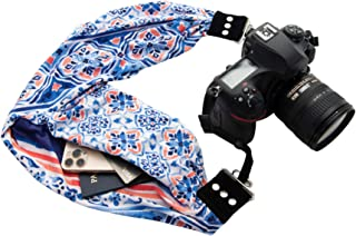 Capturing Couture Scarf Camera Strap with Hidden Pocket, Alia - Zipper Pocket Holds Your Phone, Keys, Cash and Spare Memory Card, Pocket Size: 6.5