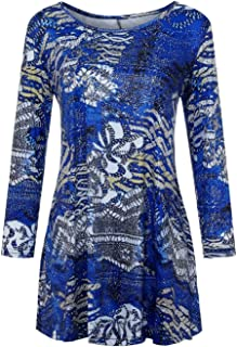 Wintialy Fashion Womens Casual Floral Print Shirts 3/4 Sleeves O-Neck Tunic Blouse Tops