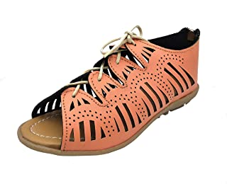 Thari Choice Kids Girls Fashion Sandal Or Flat Sandal with Upper Less and Back Zip