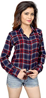 Trendif Women's Poly Modal Viscose Checkered Shirt