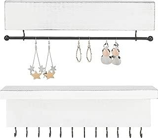 MyGift Vintage White Wood Wall-Mounted 2-Piece Jewelry Organizer Set