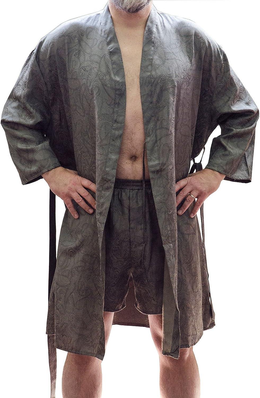 Men's Jacquard Classic Short Kimono Robe and Boxer Short Set #30648117, XL-XXL