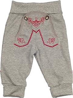 Eisenherz Babyhose Jogginghose in grau für Bub und Mädchen mit schönen Stickereien elastischem Bund - süßer Trachtenlook