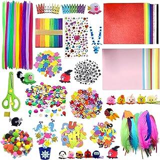 DOITEM D'artisanat pour Les Enfants - Plus 1200 Pcs de d'art et D'artisanat Colorés et Créatifs, Comprend Colle Scintillan...
