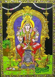 "India Crafts Goddess Mariamman/Hindu Batik Cotton Wall Tapestry 40"" X 30"""