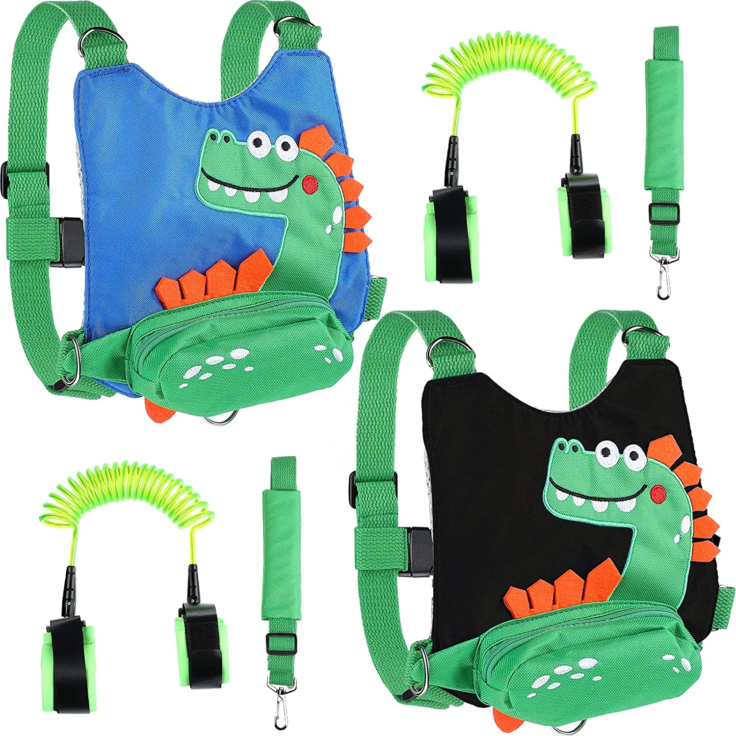 2 Packs 4 in 1 Toddler Harness Leashes Anti Lost Wrist Link for Toddlers Backpack Safety Leash Baby Child Toddler Kids Harness with Leash for Walking (Black and Blue)