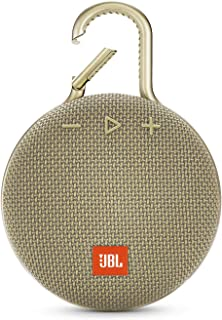JBL CLIP 3 Portable Bluetooth Wireless Speaker with Rechargeable Battery, Waterproof IPX7 for Outdoors, Siri and Google Compatible - Sand