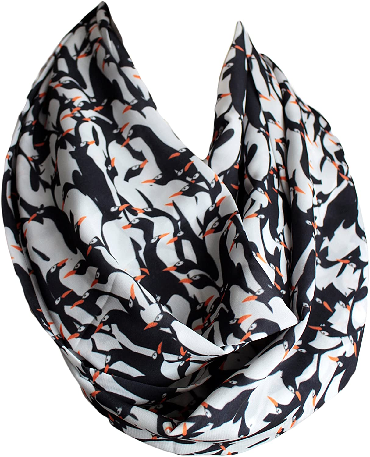 Etwoa's King Penguins Print Infinity Scarf Circle Loop Scarf
