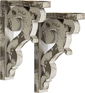 American Art Décor Wooden Corbels Shelf Brackets Vintage Farmhouse Decor (Set of 2 - Gray)