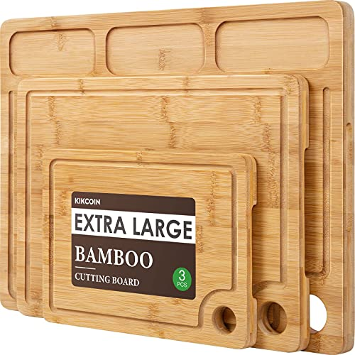 2021 Bamboo wholesale Cutting Boards for Kitchen, (Set of 3) Kitchen Chopping Board with 3 Built-In Compartments and Juice Groove Heavy Duty Serving Tray Wood Butcher Block and Wooden outlet sale Carving Board with Hole online