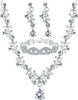 Wedding Bridal Jewelry Set Crystal Necklace Earrings Bracelet Sets for Women Gift